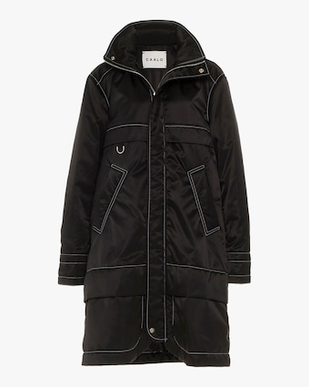 Black Contrast Stitch Satin Anorak