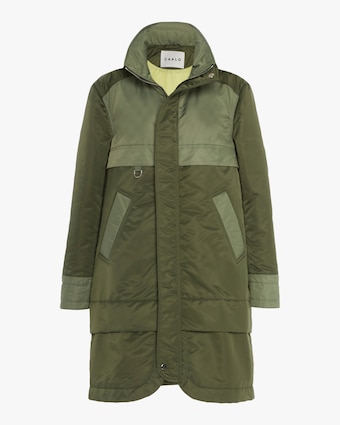 CAALO Green Aviator Satin Hooded Anorak 1