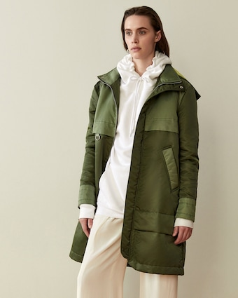 CAALO Green Aviator Satin Hooded Anorak 2