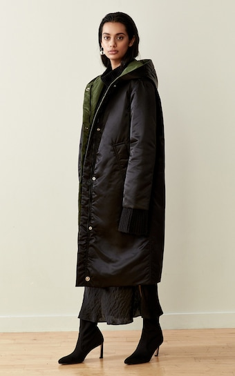 Black / Military Green Reversible Satin Down Coat