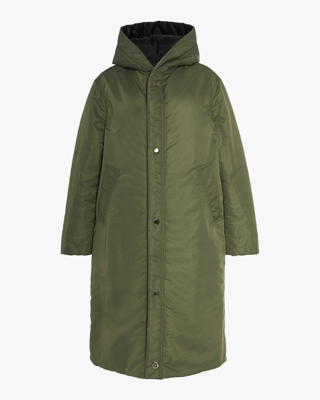 CAALO Black / Military Green Reversible Satin Down Coat 2