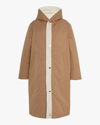 Camel / White Reversible Satin Down Coat