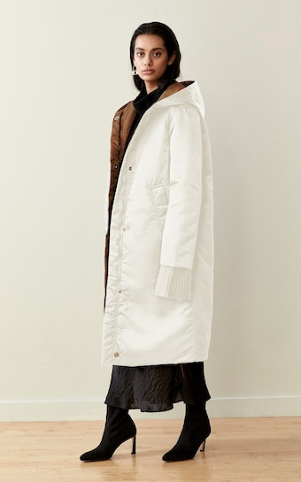 CAALO Camel / White Reversible Satin Down Coat 2