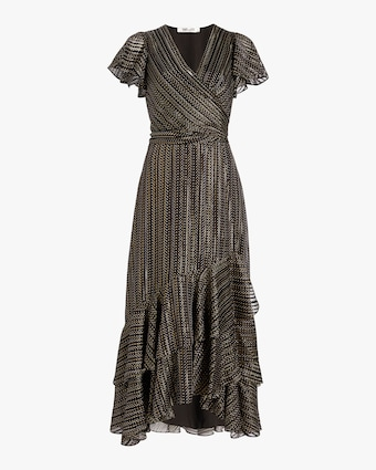 Donnie Silk Metallic Faux Wrap Gown
