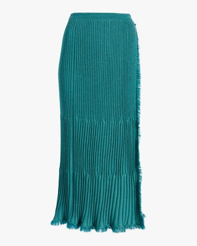 Brooklyn Metallic Wool Midi Skirt