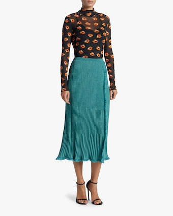 Brooklyn Metallic Wool Midi Skirt