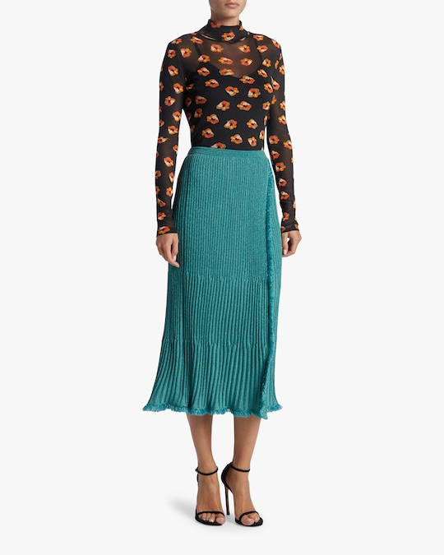 Diane von Furstenberg Brooklyn Metallic Wool Midi Skirt 1