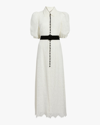 Belted Corded Lace Dress