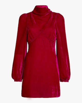 Mock Neck Velvet Mini Dress