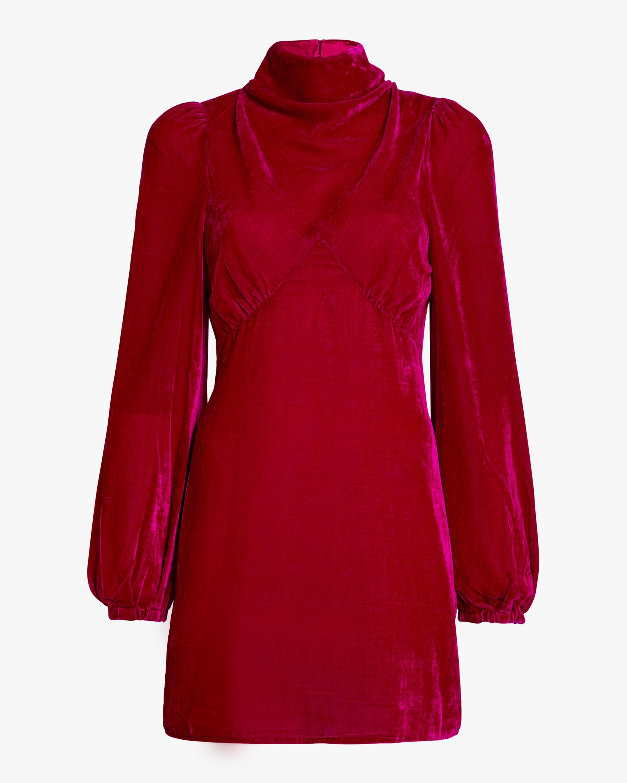 Mock Neck Velvet Mini Dress