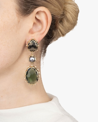 Georgian Multi Stone Drop Clip Earrings