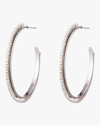 Crystal Encrusted Spiked Hoop Earrings