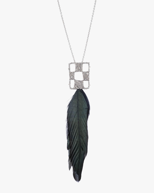 Pavé Checkerboard Feather Pendant