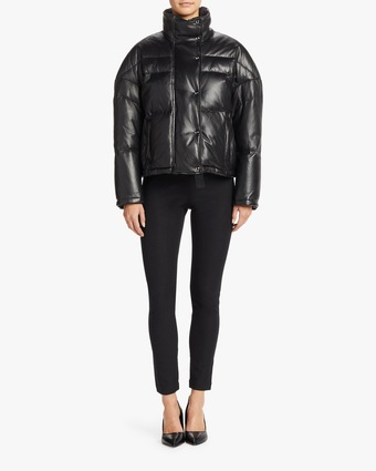 Leather Cropped Down Fill Jacket