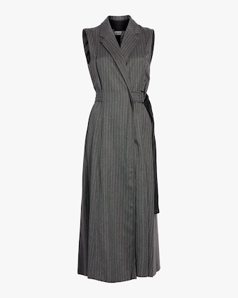 Pinstripe Twill Suiting Trench Dress