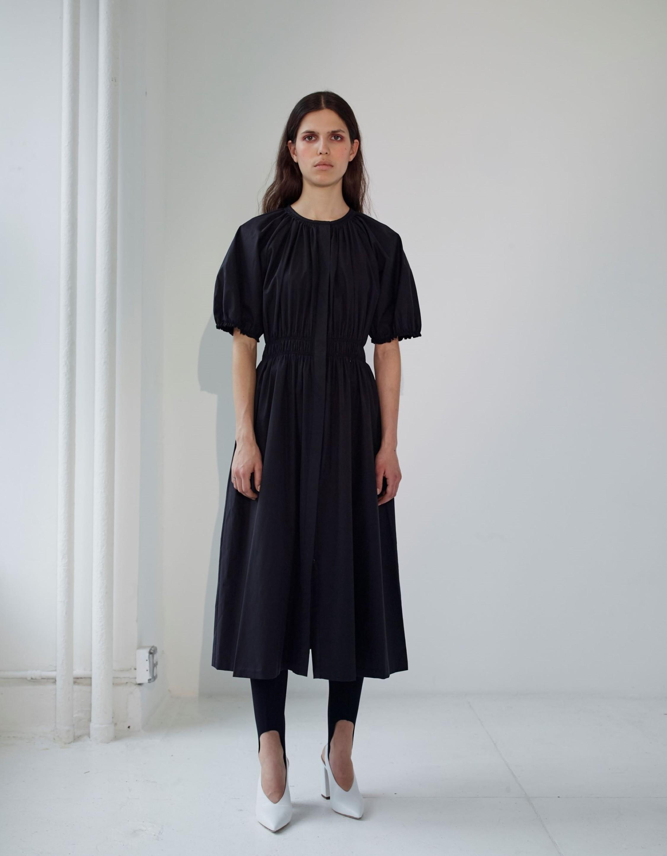 Cotton Poplin Bubble Sleeve Dress