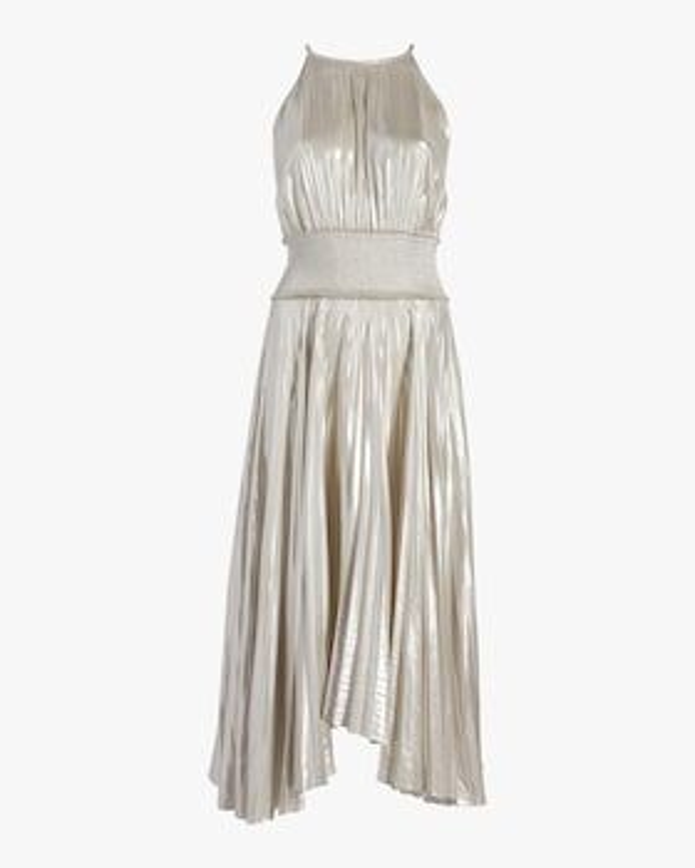 Weston Pleated Metallic Dress