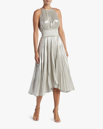 Weston Pleated Metallic Dress