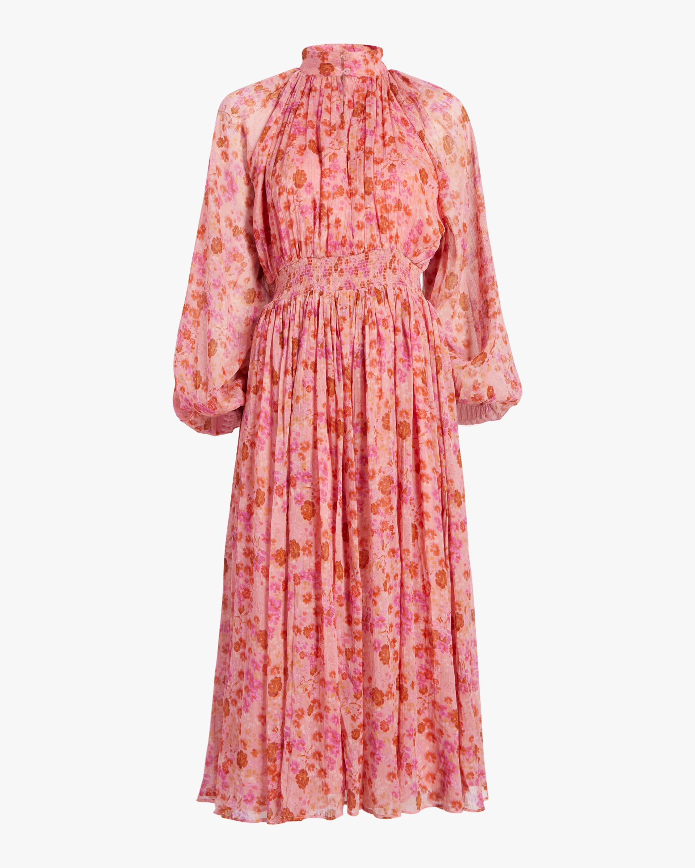 High Neck Chiffon Midi Dress
