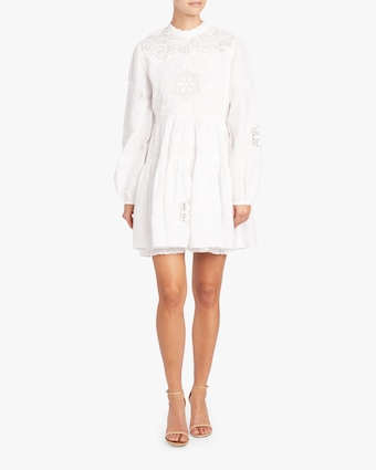 Embroidered Linen Mini Dress