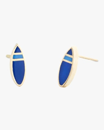 Surf Light Blue Enamel Stud Earrings