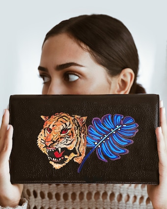 Hand Painted Royal Tiger Clutch