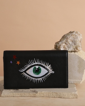 Hand Painted Stars and Eyes Clutch