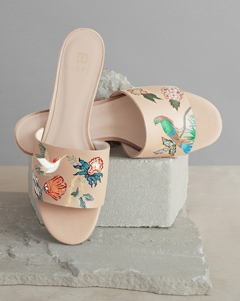 Hand Painted Bird Floral Slide Sandal