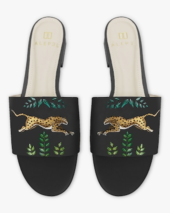 Hand Painted Golden Leopards Slide Sandals