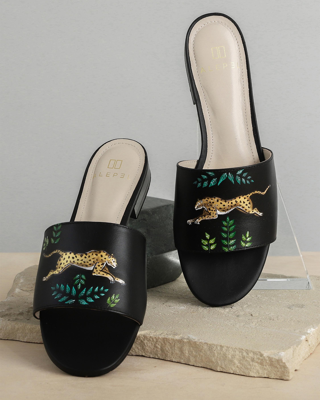 Alepel Hand Painted Golden Leopards Slide Sandals 2