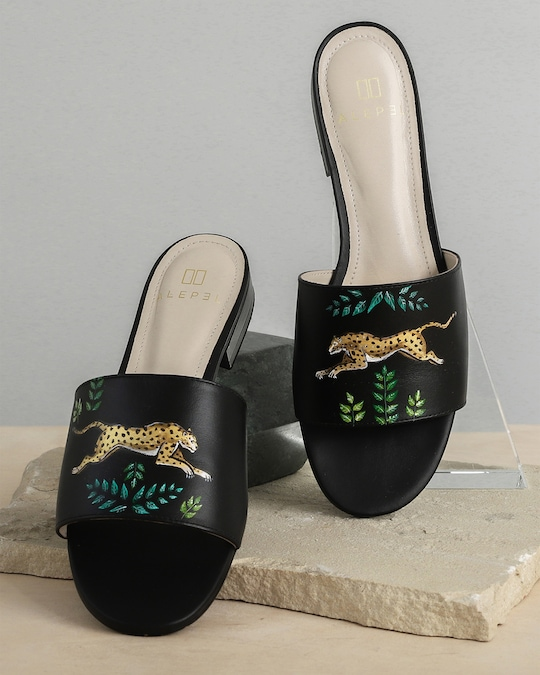 Alepel Hand Painted Golden Leopards Slide Sandals 1