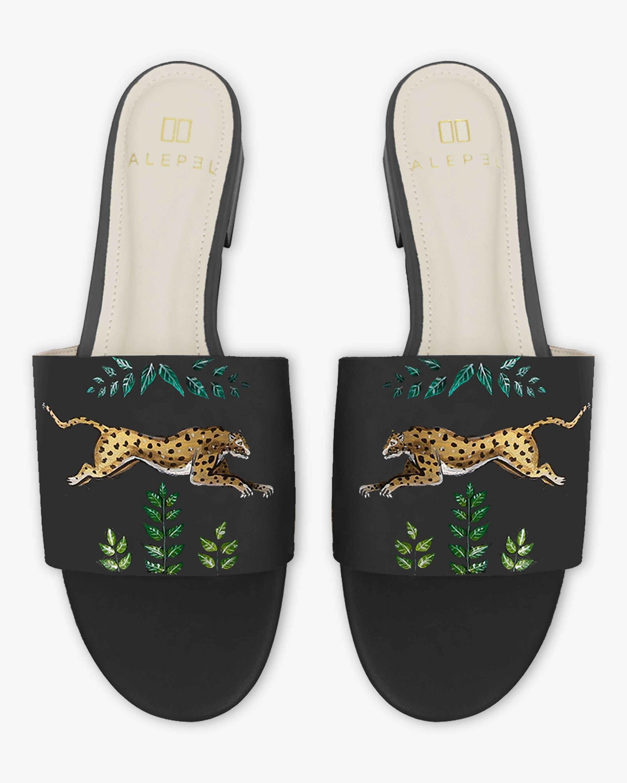 Alepel Hand Painted Golden Leopards Slide Sandals 1