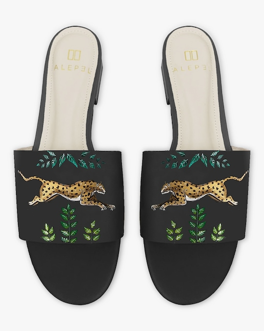 Alepel Hand Painted Golden Leopards Slide Sandals 0