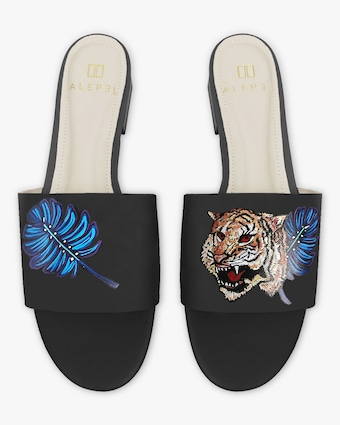 Hand Painted Royal Tiger Slide Sandal