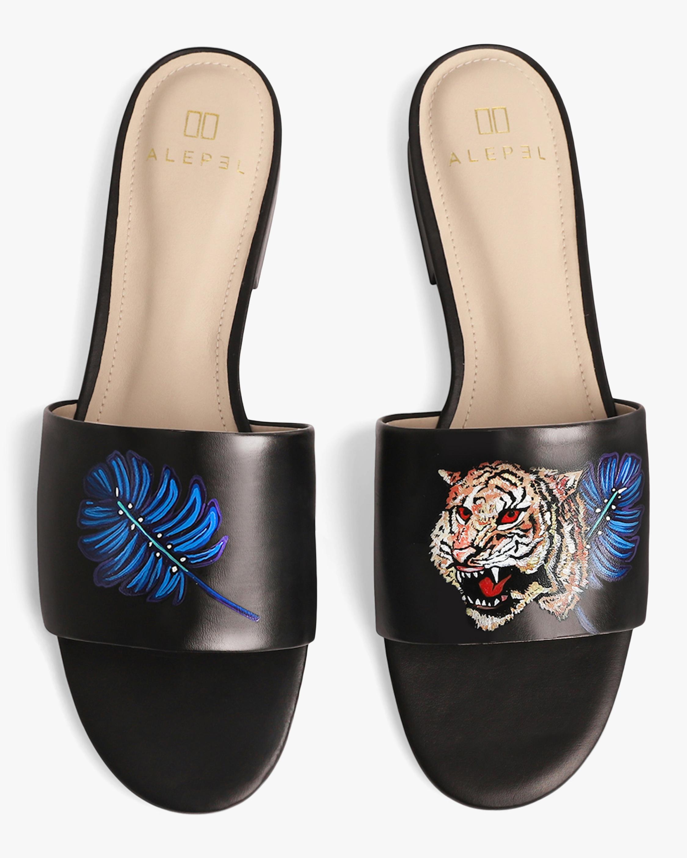Alepel Hand Painted Royal Tiger Slide Sandal 0