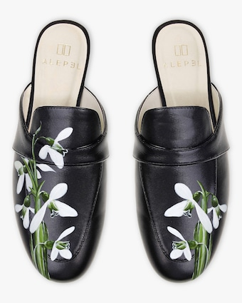 Hand Painted Snowdrops Mule