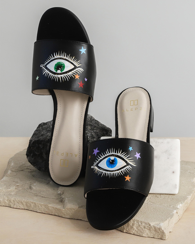 Alepel Hand Painted Stars and Eyes Slide Sandal 2