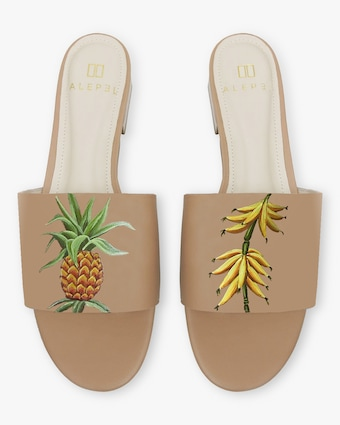 Hand Painted Vintage Fruits Slide Sandal