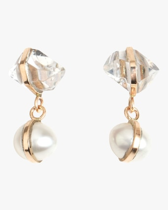 Melissa Joy Manning Pearl and Herkimer Drop Earrings 2