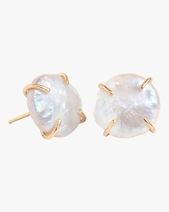 Melissa Joy Manning Prong Set Pearl Stud Earrings 1
