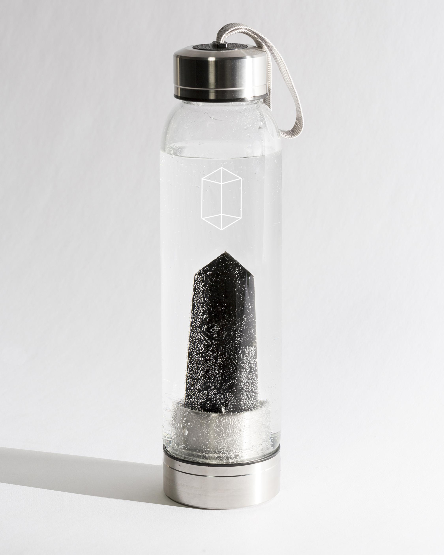 Black Obsidian Crystal Water Bottle