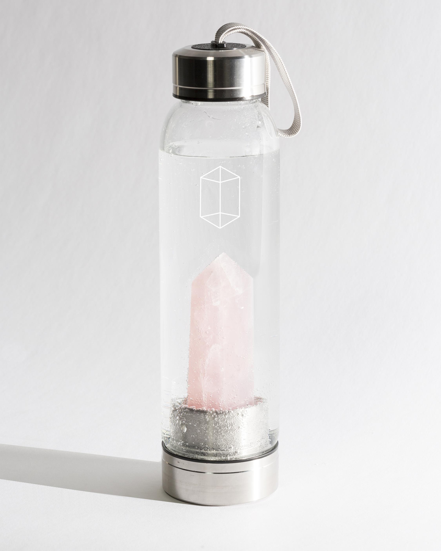 Rose Quartz Crystal Water Bottle
