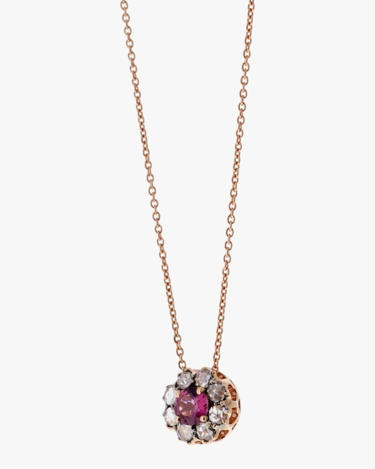 Selim Mouzannar Diamond And Rhodolite Pendant Necklace 0
