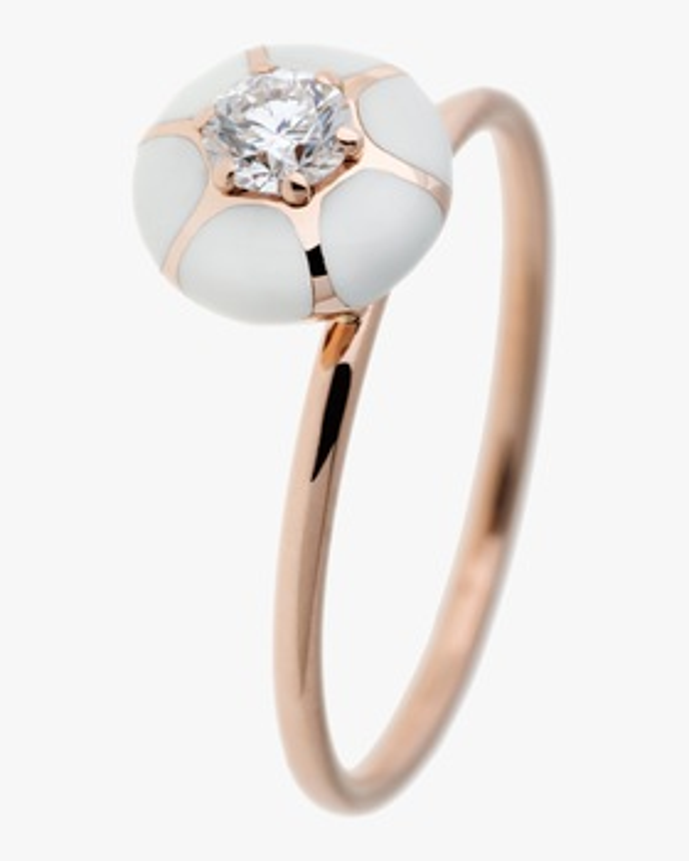 Ivory Enamel & Diamond Ring