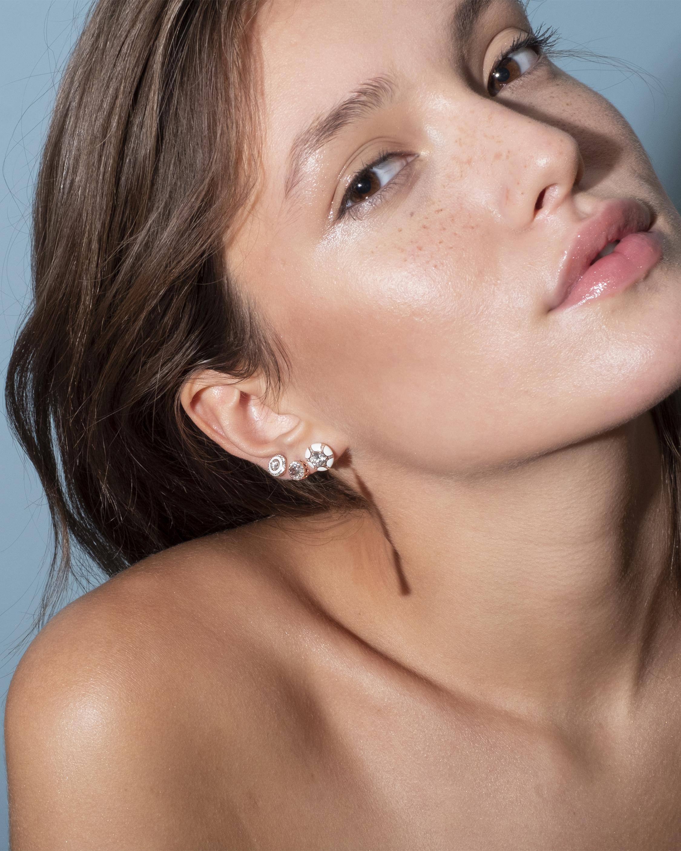Ivory Enamel And Diamond Earrings