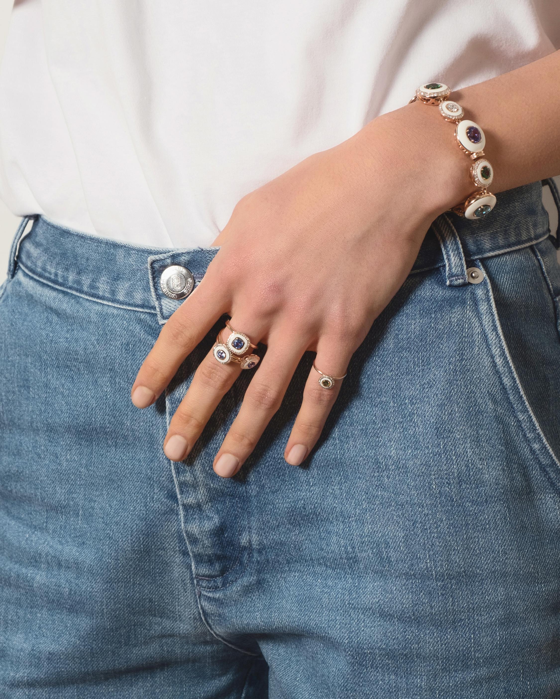 Ivory Enamel Diamond And Sapphire Ring