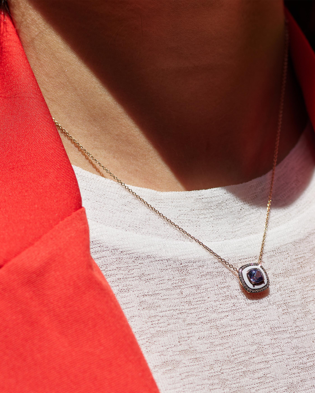 Ivory Enamel Diamond And Sapphire Pendant