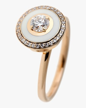 Ivory Enamel And Diamond Ring