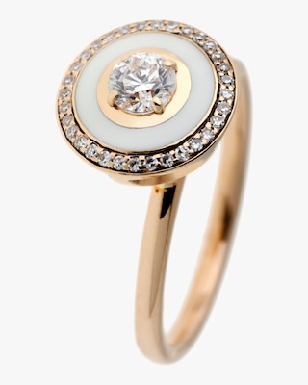 Selim Mouzannar Ivory Enamel & Diamond Trim Ring 1