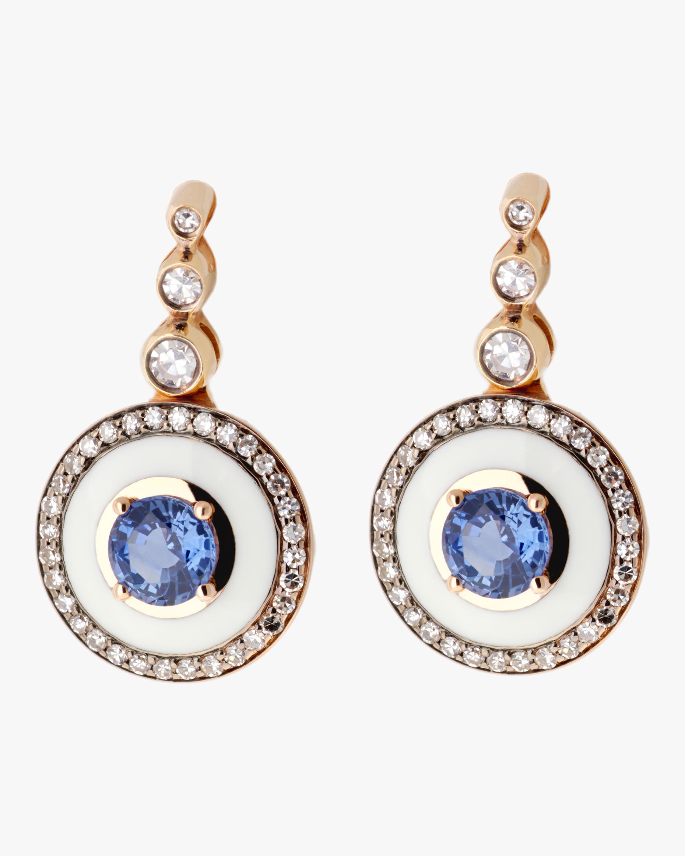 Ivory Enamel Diamond And Tanzanite Earrings